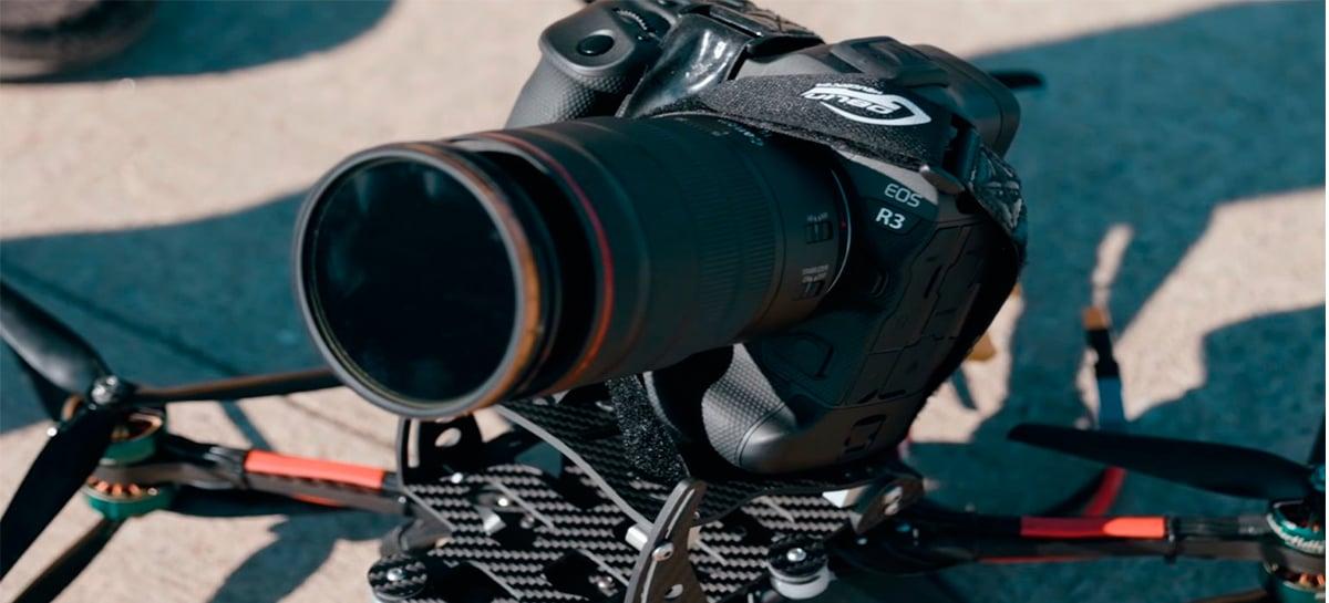 Canon EOS R3 que custa mais de R$30.000 cai em voo com drone FPV - Veja vídeo e sofra