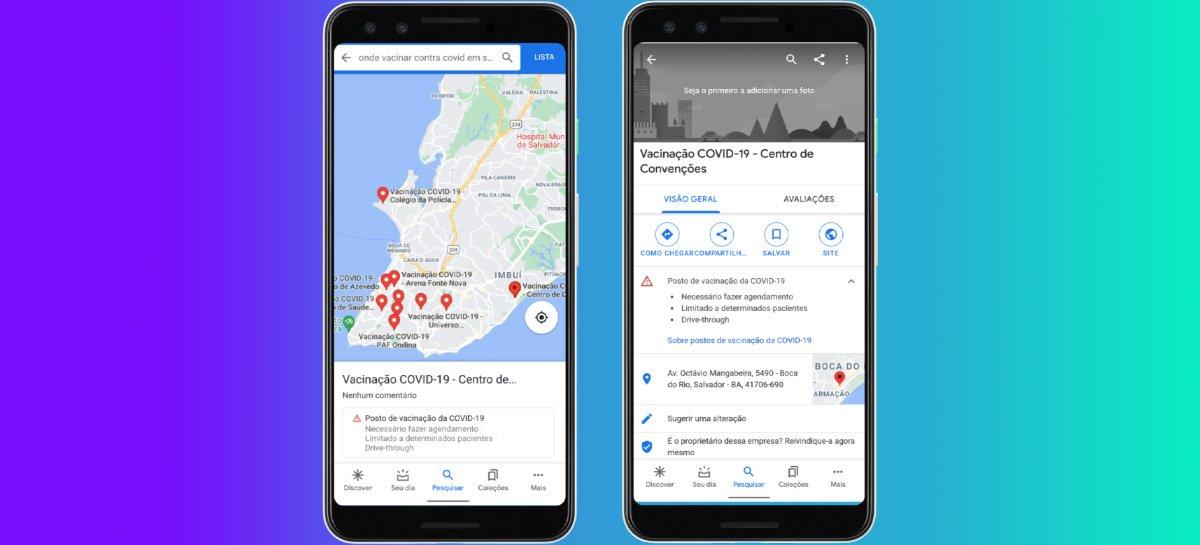 Google Maps adiciona informações da vacinação contra Covid em mais 36 cidades