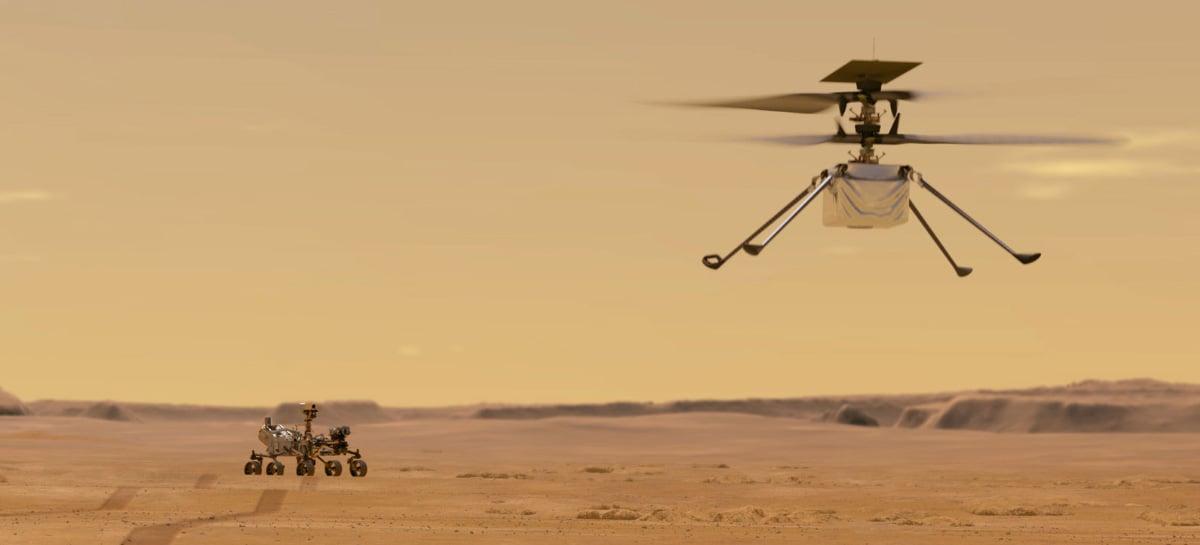 NASA divulga imagem do Ingenuity e 1º voo do helicóptero pode acontecer em abril