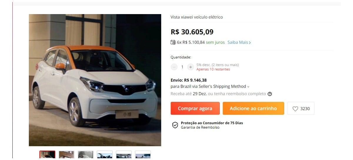 AliExpress anuncia venda de carros elétricos e frete
