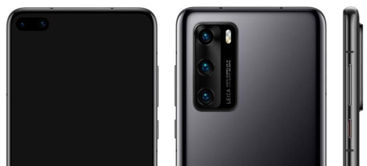 Huawei P40: Novas renderizações revelam três câmeras traseiras e duas frontais