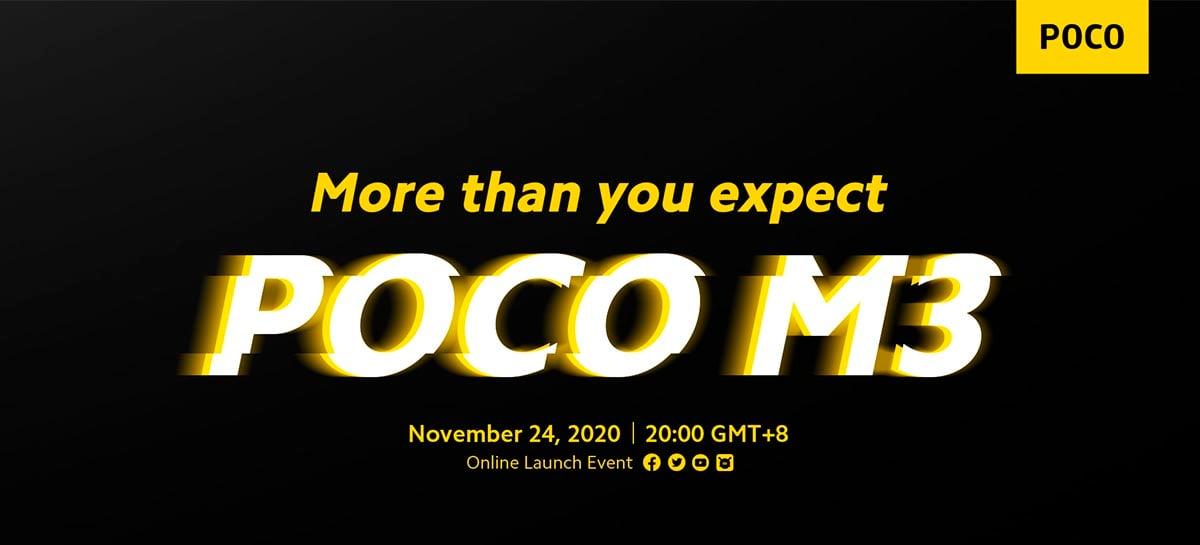 OFICIAL: Poco M3 será lançado dia 24 de novembro