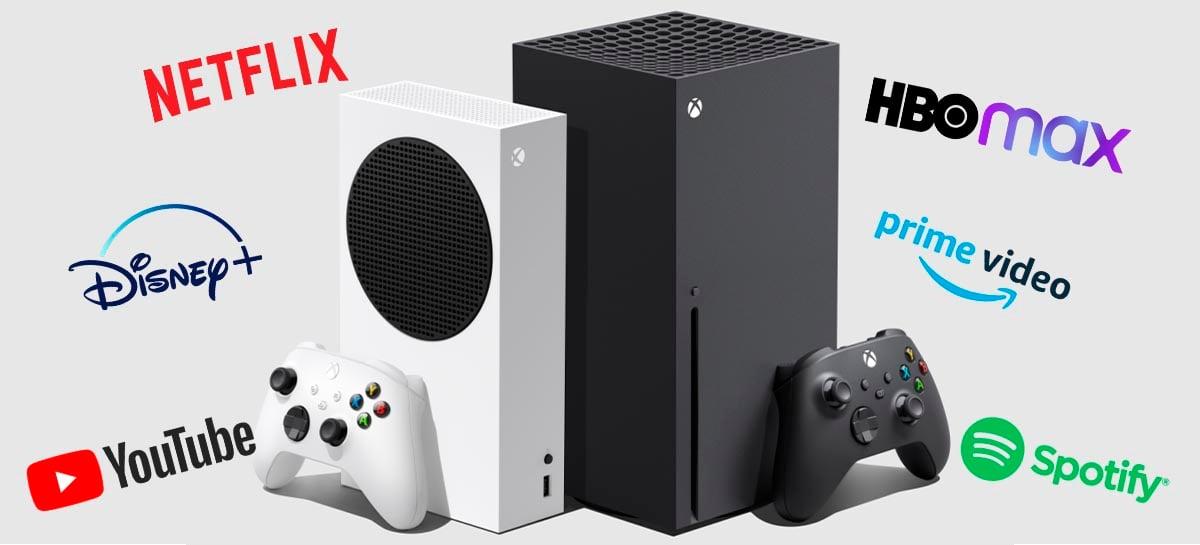 Confira os apps de streaming disponíveis nos Xbox Series X/S no lançamento