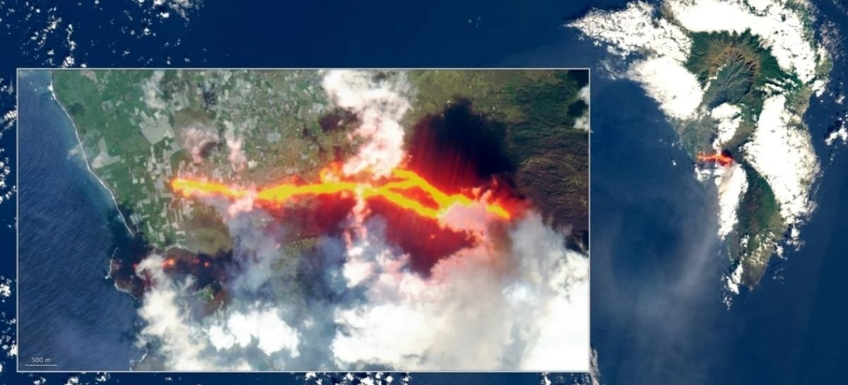 Veja imagem de rio de lava do vulcão Cumbre Vieja capturada do espaço