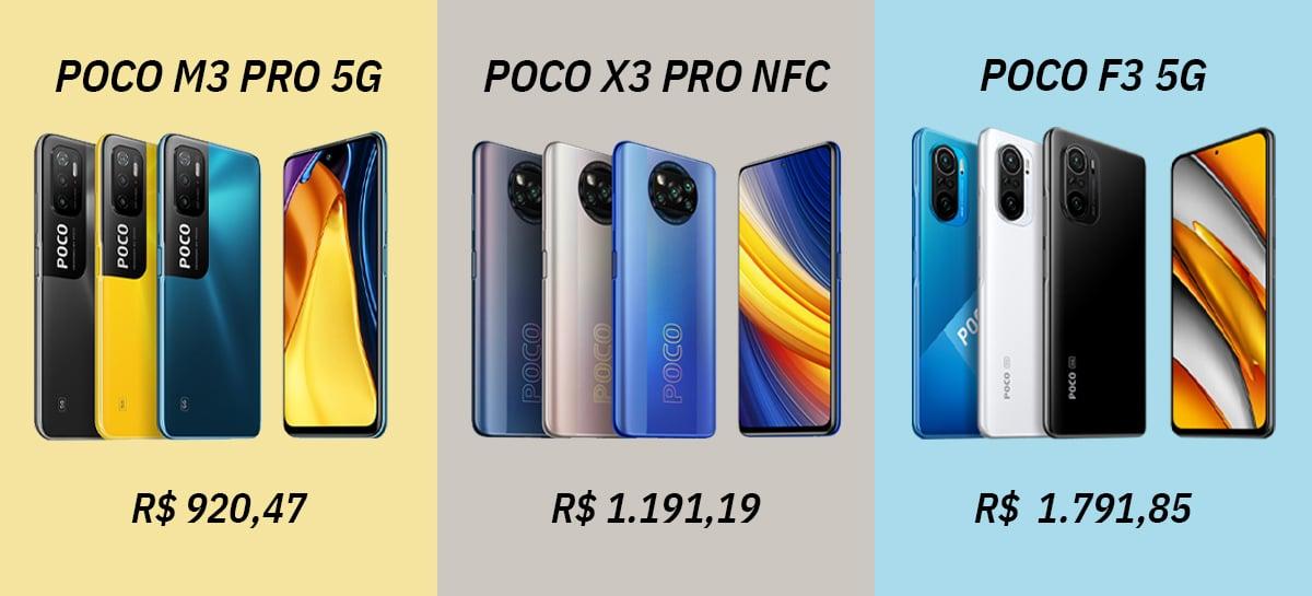 Celulares POCO em PROMOÇÃO: POCO M3 Pro (US$ 169), POCO X3 Pro (US$ 215) e POCO F3 (US$329)