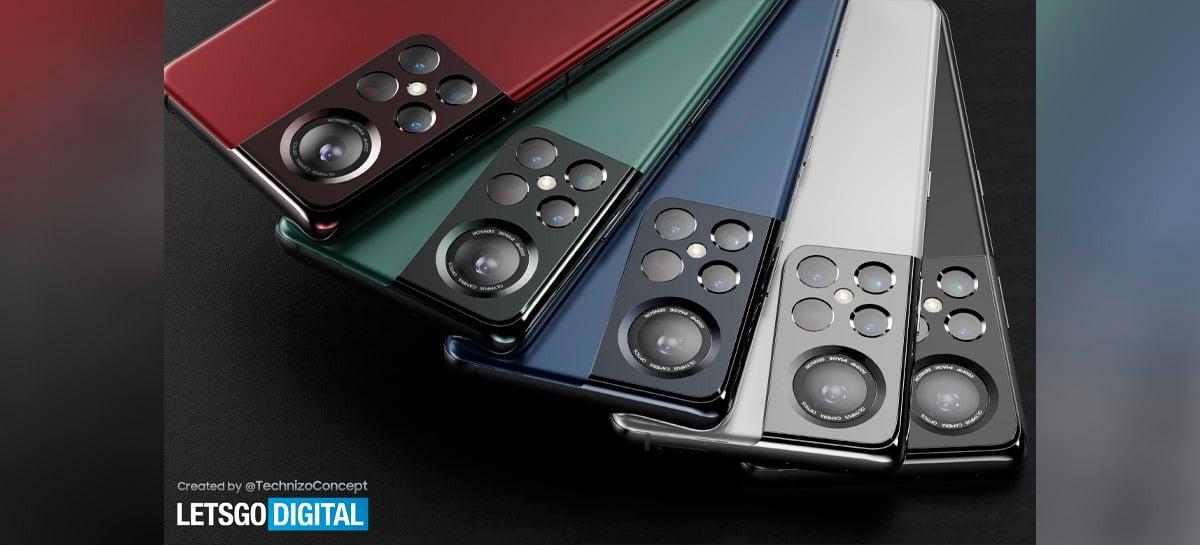 Conceito do Samsung Galaxy S22 Ultra mostra câmera com sensor gigante de 200MP