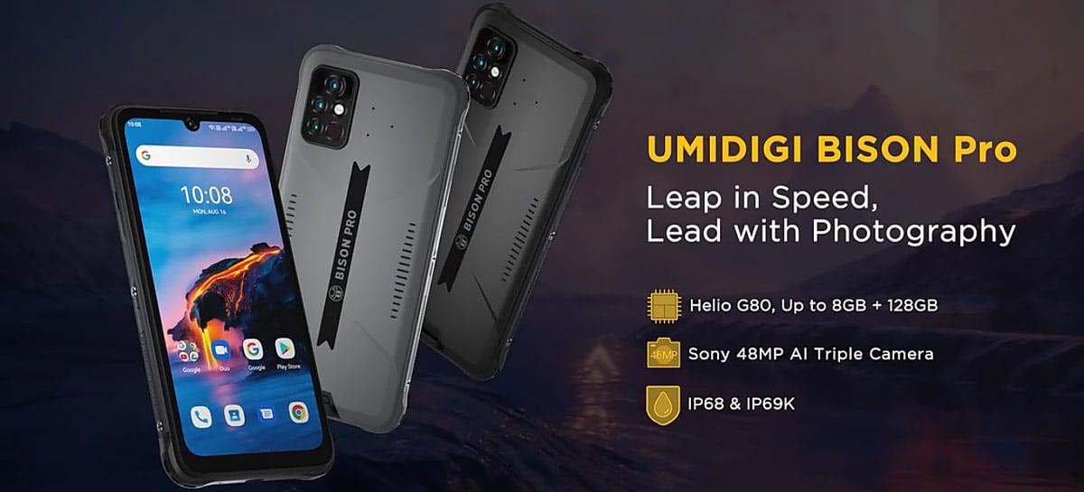 BISON Pro é o novo celular resistente da UMIDIGI com Helio G80, câmera de 64 MP e proteção IP69K