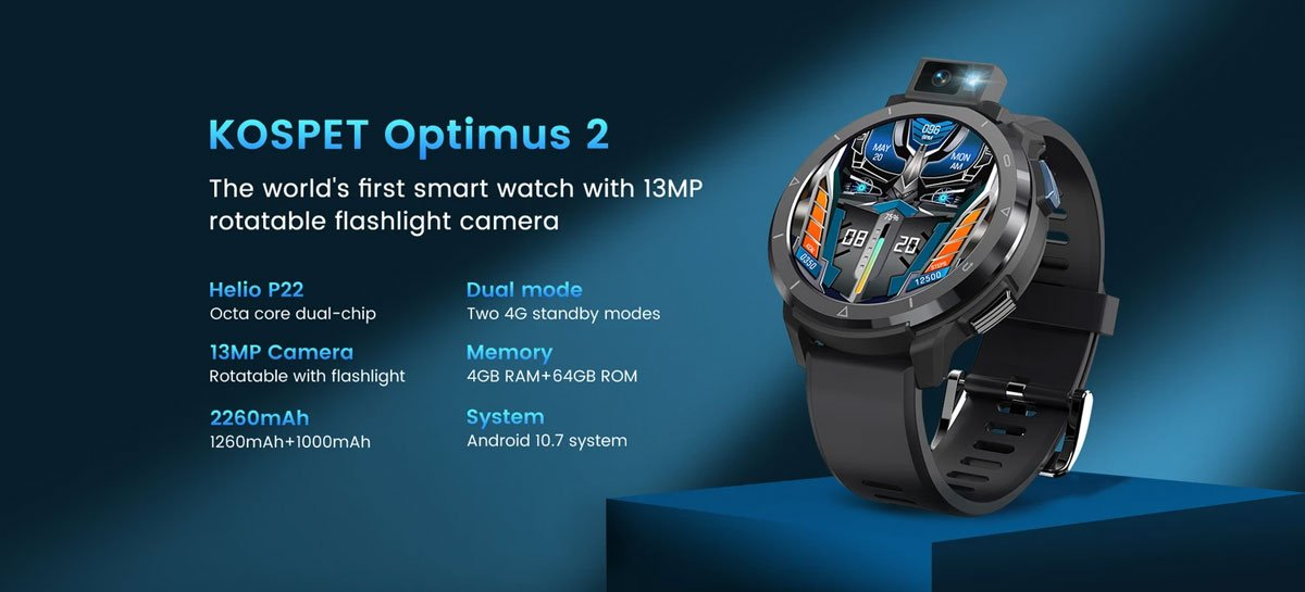 Kospet Optimus 2: câmera giratória de 13 MP e chipset Helio P22 por um preço acessível
