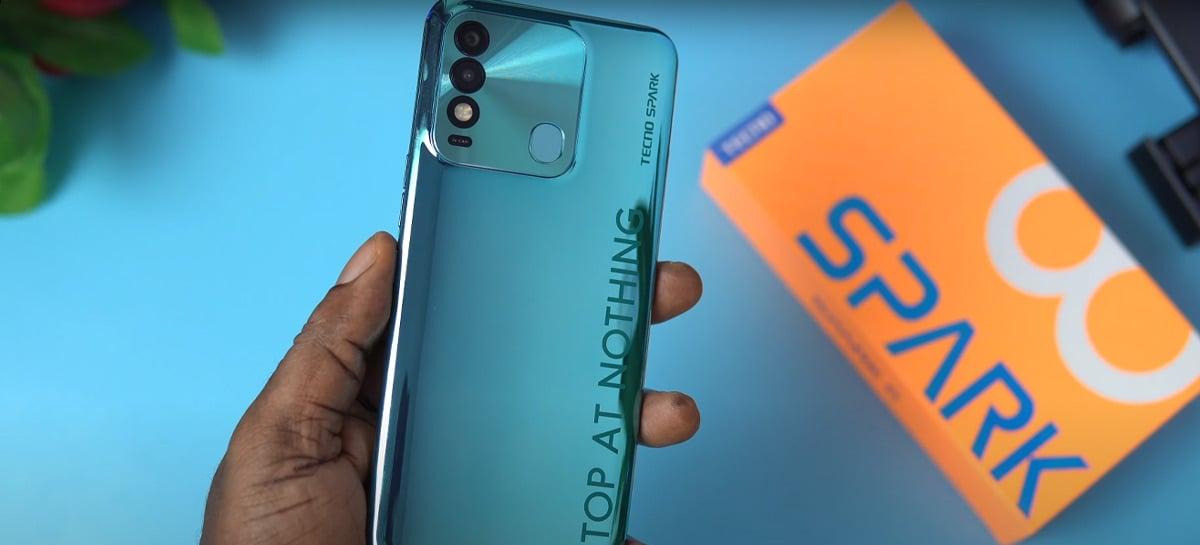 Smartphone Tecno Spark 8 é anunciado com chip Helio P22 e bateria de 5000 mAh