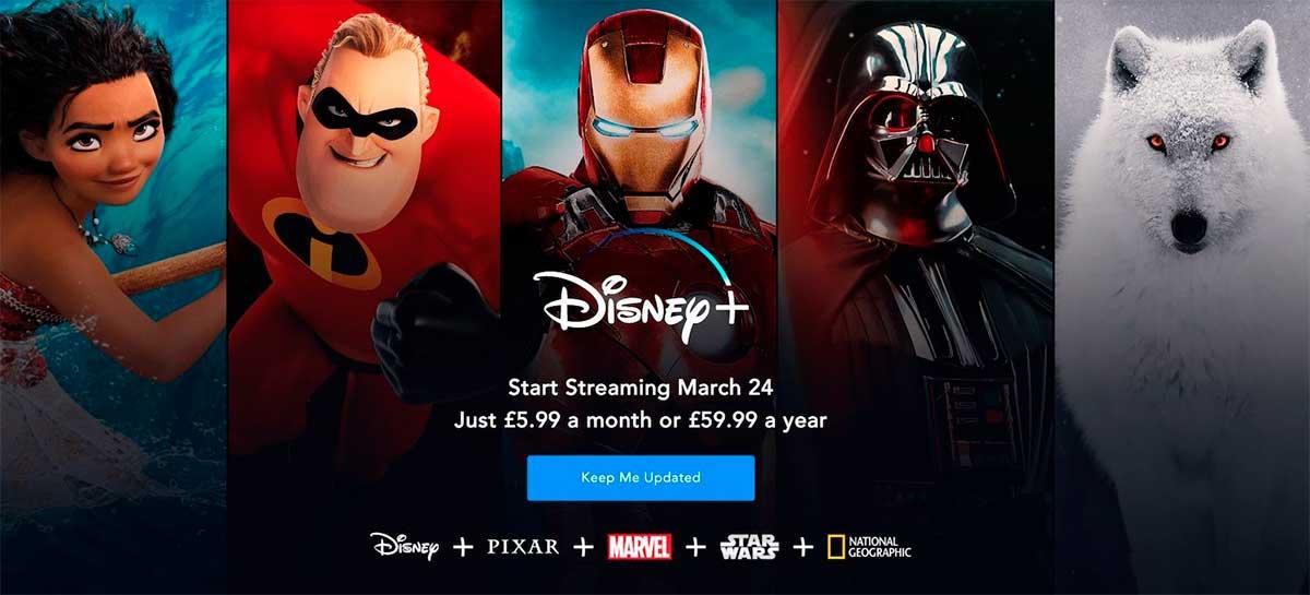 Disney+ vai chegar uma semana antes na Europa por £5.99