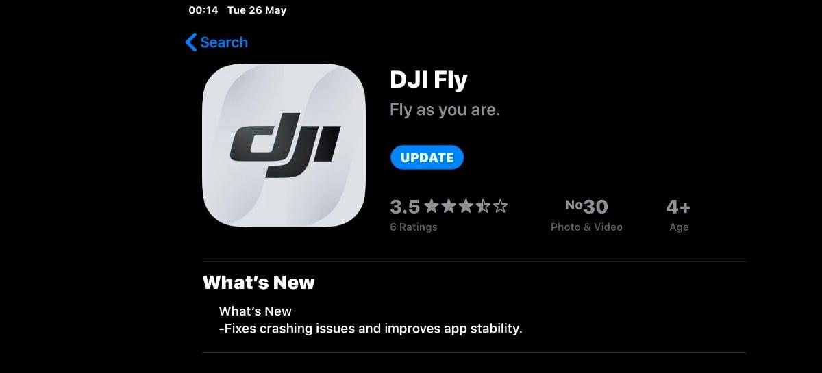 Nova versão v1.2.2 do app DJI Fly agora traz indicador de altitude para os drones