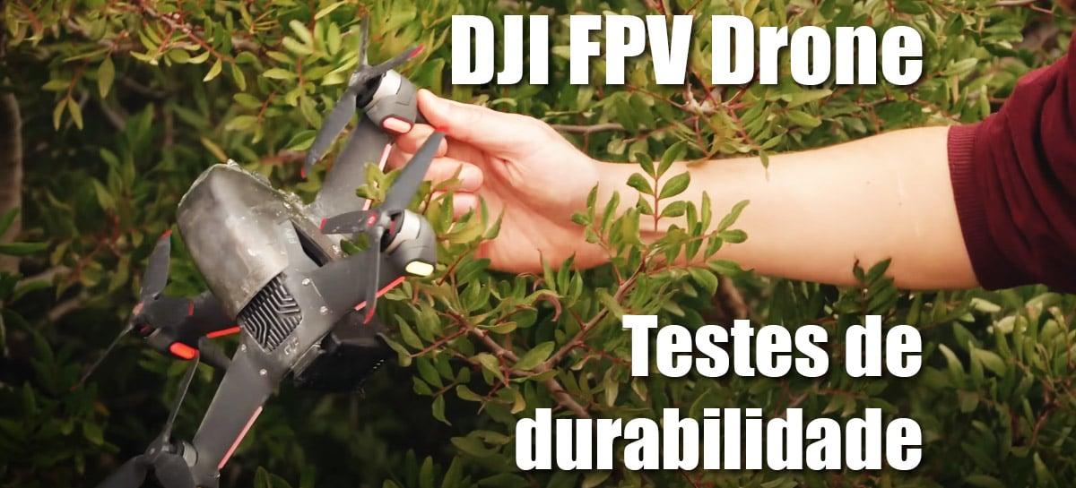 DJI FPV Drone se sai bem em teste durabilidade com água, bola e colisão em parede