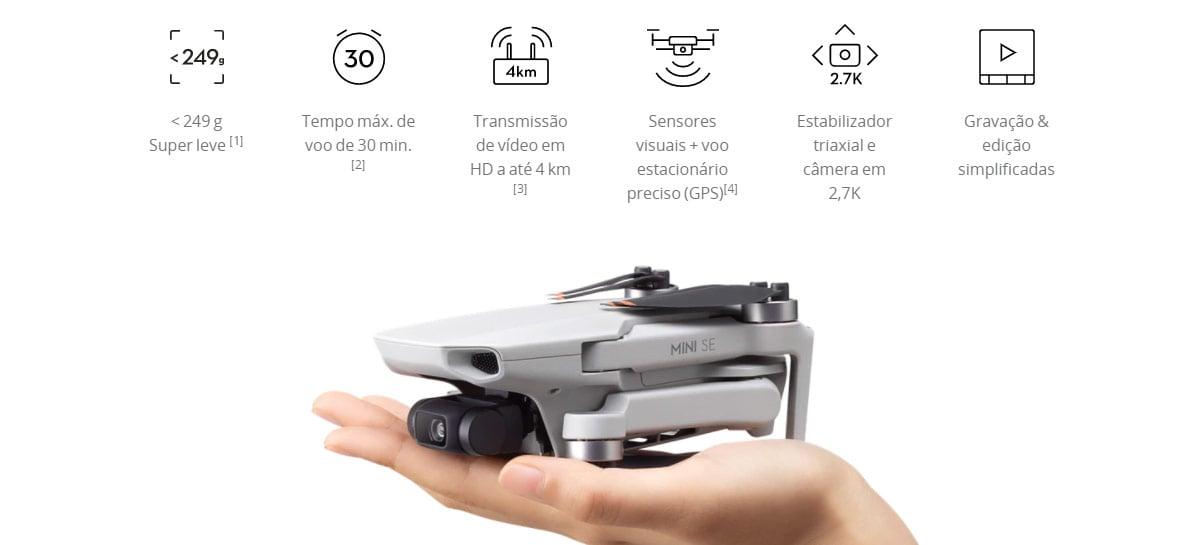 Drone baratinho DJI Mini SE é confirmado pelo site da DJI Brasil + unboxing