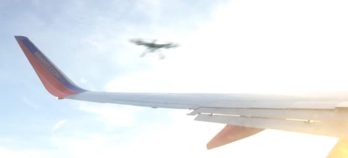 Vídeo que mostra drone colidindo com asa de avião é FAKE