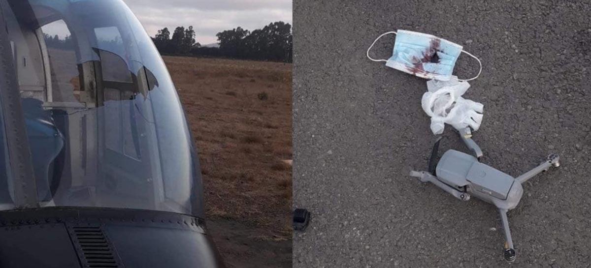 Drone colide com helicóptero da marinha chilena - Veja fotos