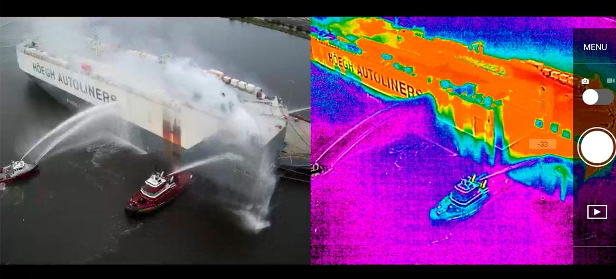 Drone ajuda bombeiros a apagarem um incêndio em navio usando câmera termográfica