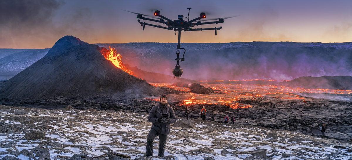 Drone com câmera 8K acoplada cria vídeo incrível em 360º de vulcão na Islândia