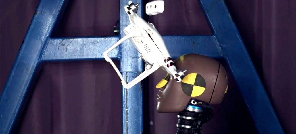 O que acontece quando um drone DJI Phantom atinge a cabeça de alguém?