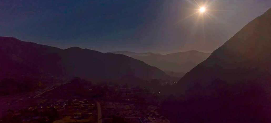 Vídeo feito com o drone DJI Mavic 2 mostra eclipse solar no Chile