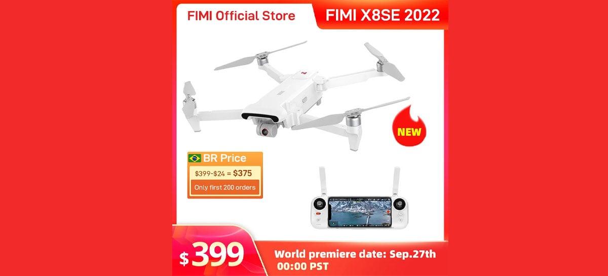 Drone FIMI X8SE 2022 à venda por US$399: Câmera 4K, 10Km, 35 minutos e resistência a chuva
