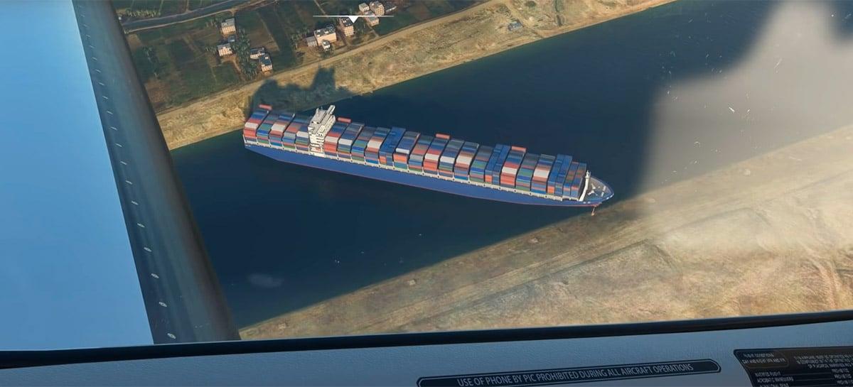 Você pode sobrevoar o navio encalhado da Evergreen em Microsoft Flight Simulator 2020