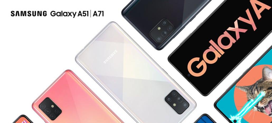 Samsung anuncia smartphones Galaxy A51 e Galaxy A71 com quatro câmeras traseiras