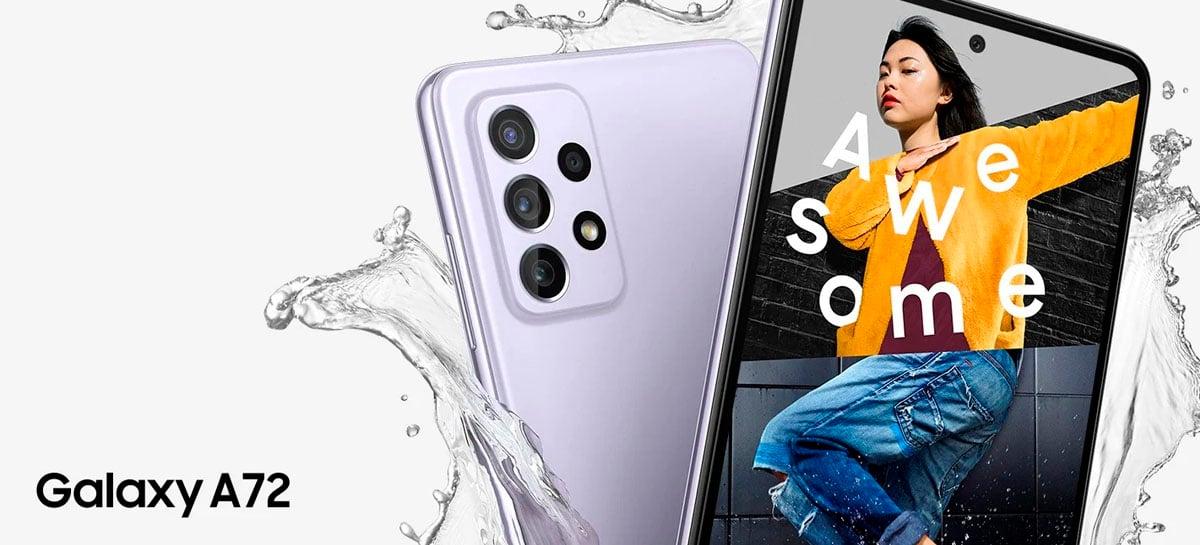 Galaxy A72 é apresentado com câmera 64MP, IP67 e 90Hz por € 449
