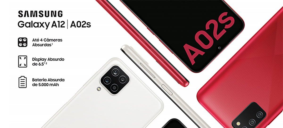 """Galaxy A02s e A12 chegam ao Brasil com tela de 6,5"""" e bateria de 5000mAh"""