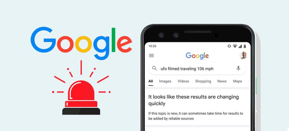 Google está começando a alertar usuários quando resultados de pesquisa são pouco confiáveis