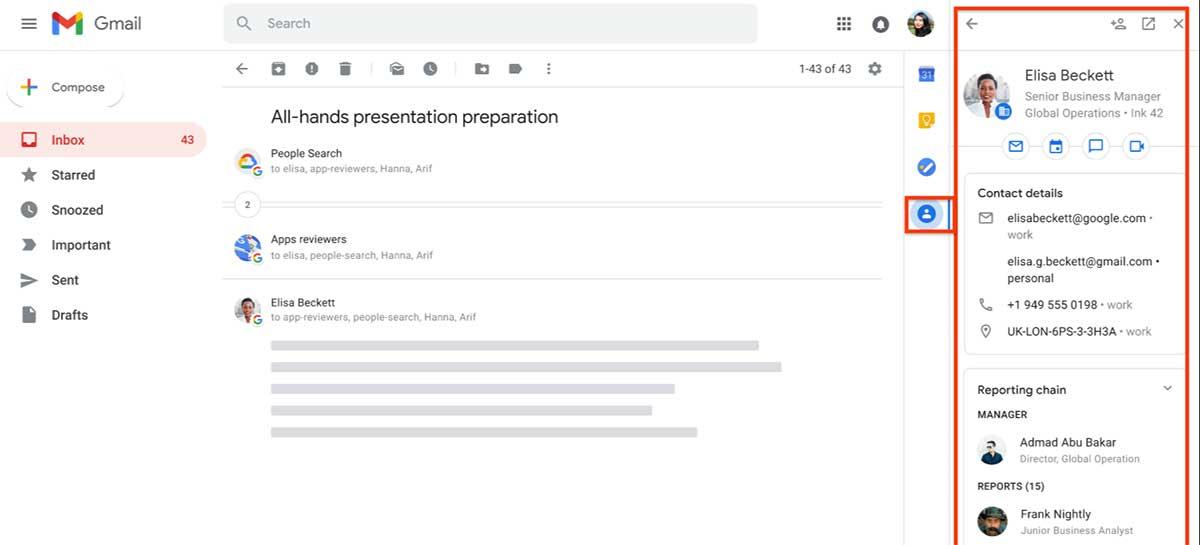 """Gmail vai trazer """"Contatos"""" para painel lateral com informações adicionais"""