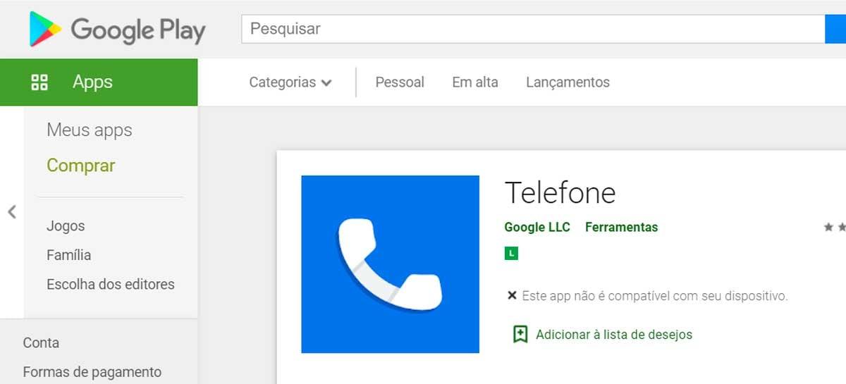 Google Phone está disponível na Play Store para mais smartphones Android
