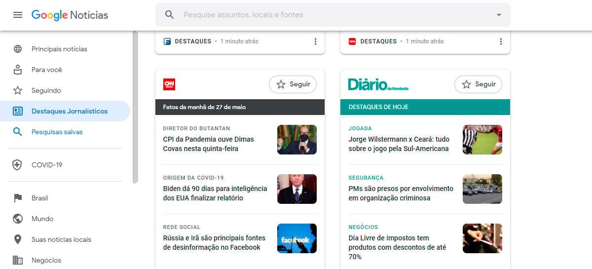 Destaques jornalísticos do Google chega para desktops no Brasil
