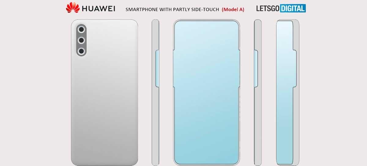 Huawei registra patente de smartphone com câmera frontal sob o display e tela nas bordas