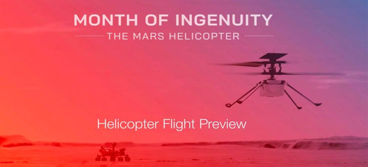 NASA prepara drone Ingenuity para realizar o primeiro voo da história em Marte