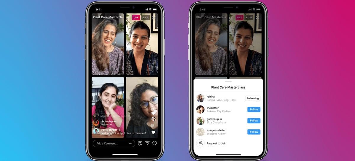 Live Rooms do Instagram agora suporta até quatro pessoas