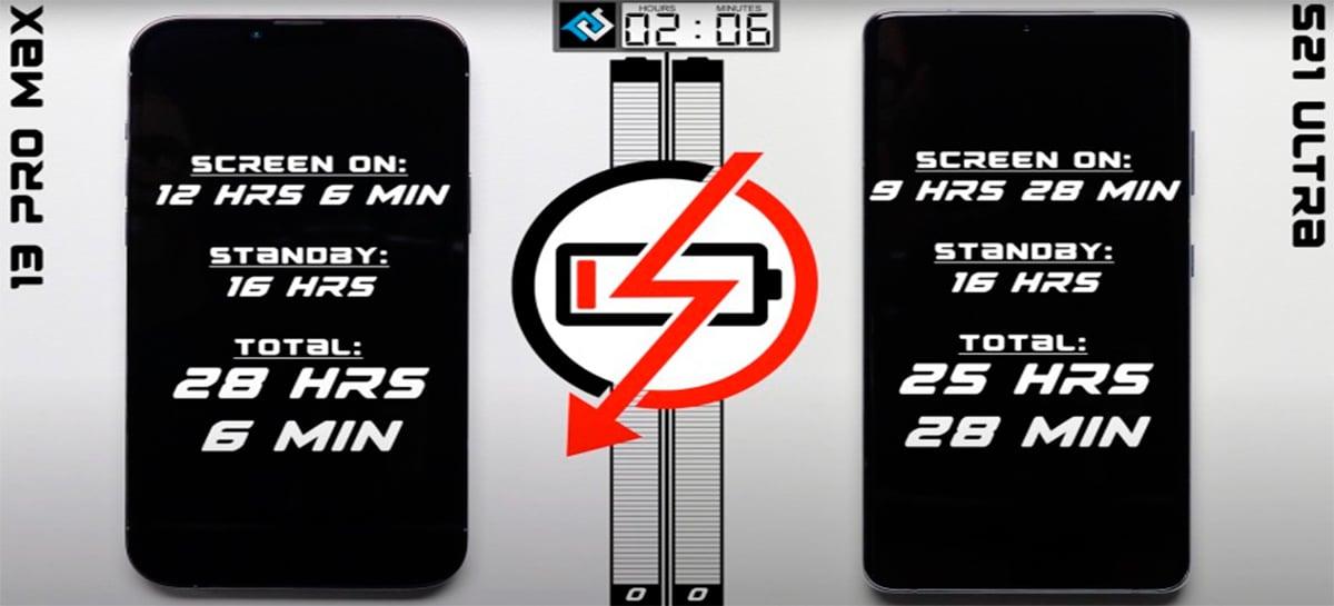 iPhone 13 Pro Max detona Samsung Galaxy S21 Ultra em teste de bateria
