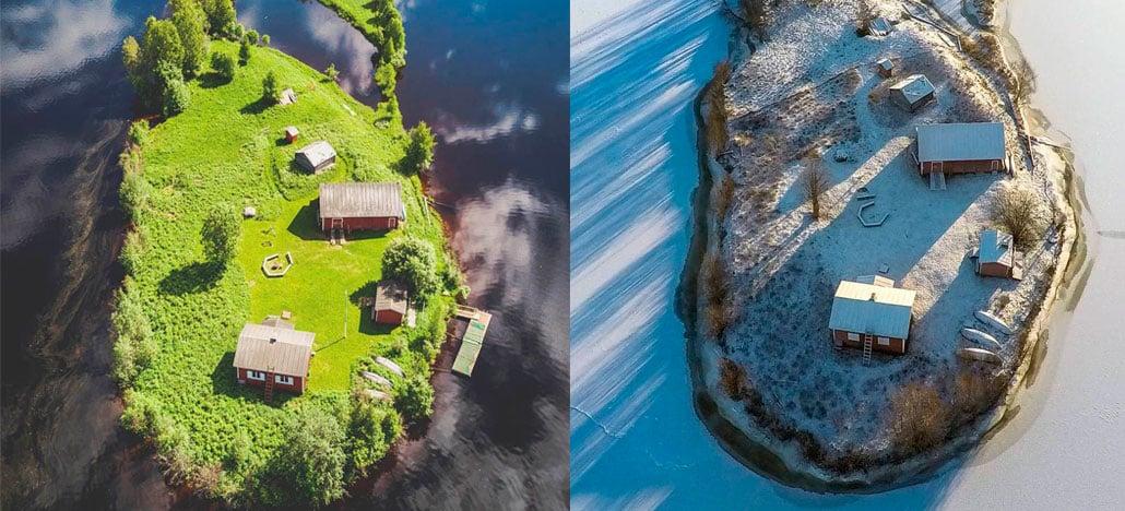 Drone captura como cada estação é única na ilha de Kotisaari, na Finlândia