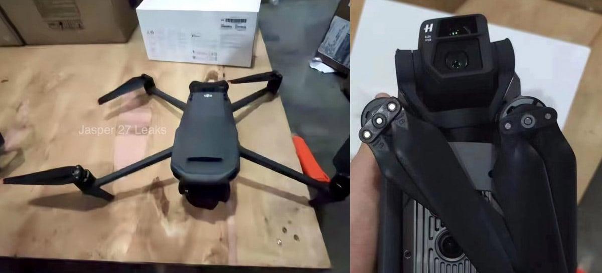 Fotos do drone DJI Mavic 3 mostram cor mais escura e braços finos e compridos