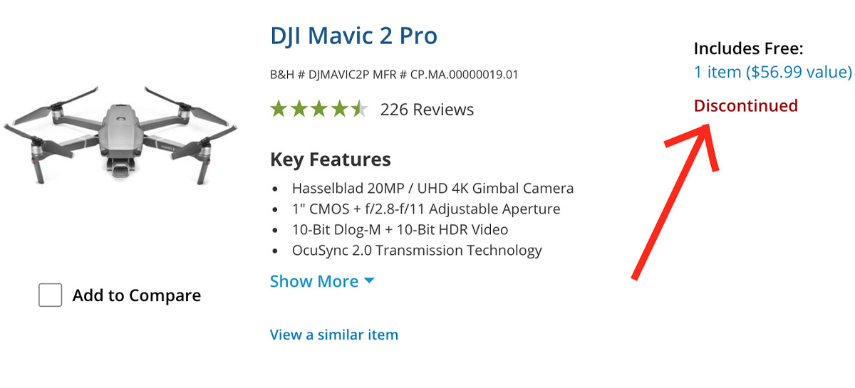 Site da B&H coloca Mavic 2 Pro como descontinuado - Mavic 3 chegando?
