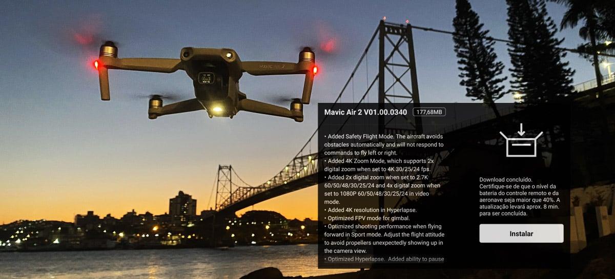 DJI deixa drone Mavic Air 2 ainda melhor com novo firmware, agora com modo 4K Zoom
