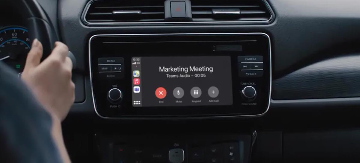Microsoft Teams ganha suporte para Apple Carplay funcionando em carros