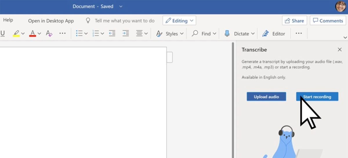 Microsoft Word agora suporta transcrição de áudios na versão web