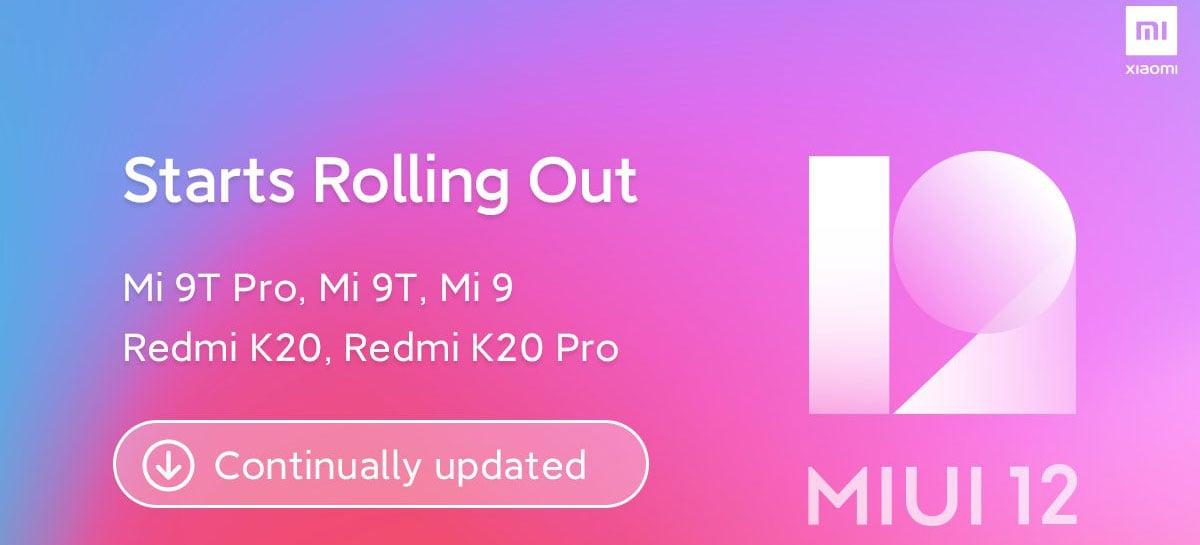 Versão global estável da MIUI12 chega ao Mi 9T, Mi 9 e Redmi K20