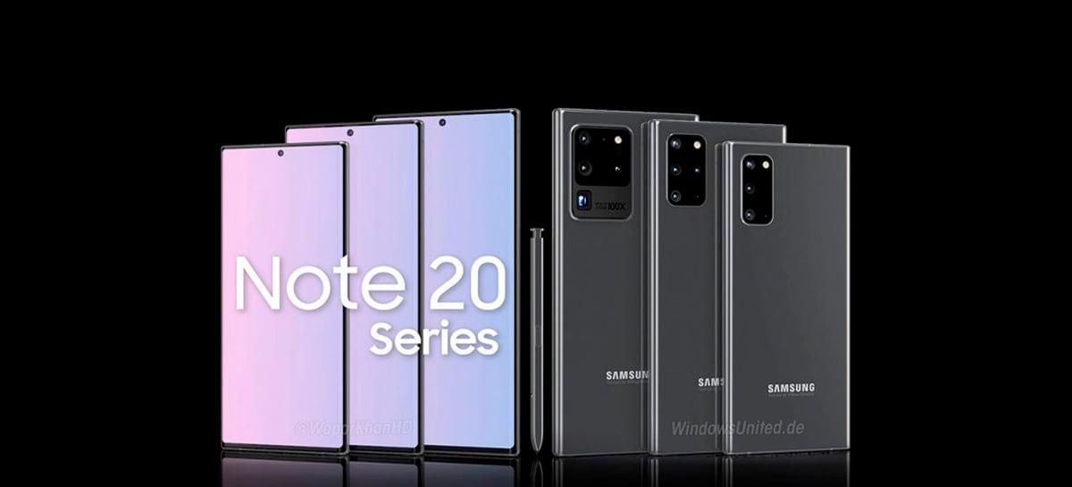 Linha Galaxy Note 20 da Samsung pode chegar ao mercado em 21 de agosto