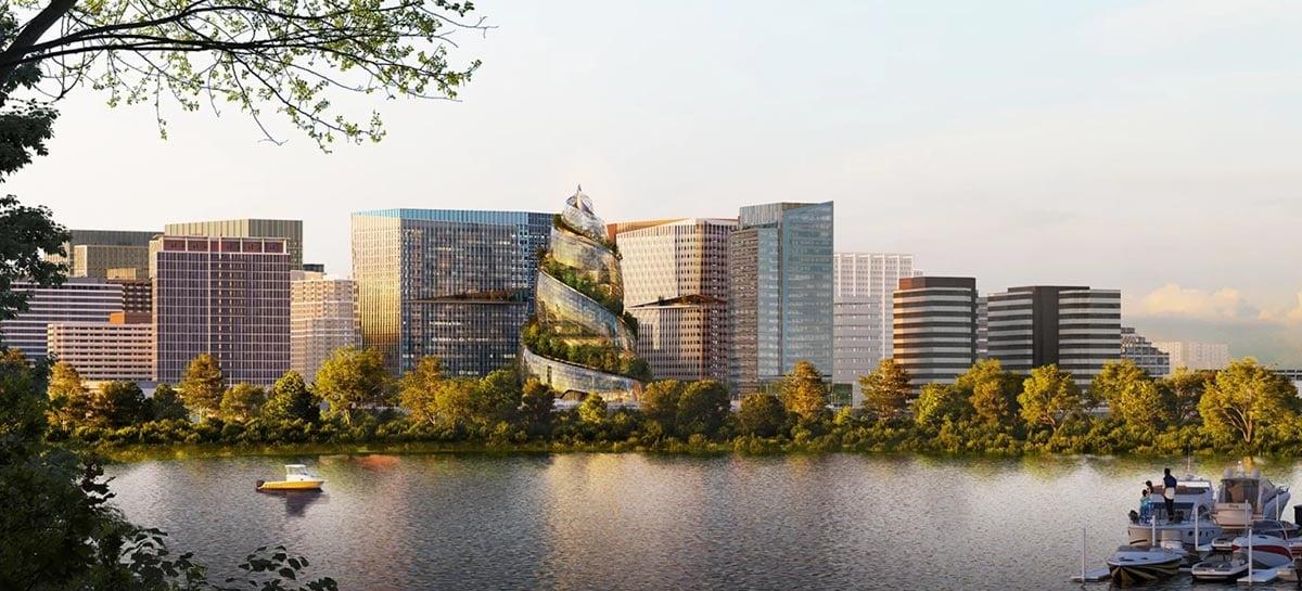 Novo escritório da Amazon é um prédio em espiral com um jardim até o topo