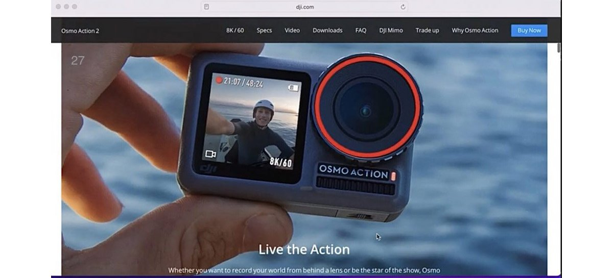 DJI Osmo Action 2 aparece com gravação em 8K 60FPS [RUMOR]