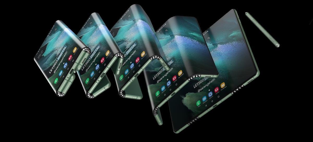 Patente da Samsung sugere Galaxy Z Fold Tab com tela de três dobras