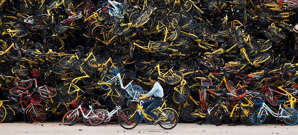 O problema da China com as bicicletas compartilhadas