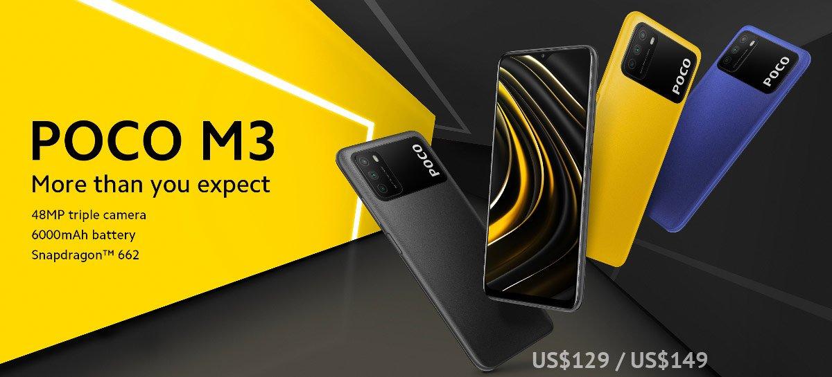 POCO M3 com Snapdragon 662G, três câmeras e 6000mAh em promoção por US$ 139
