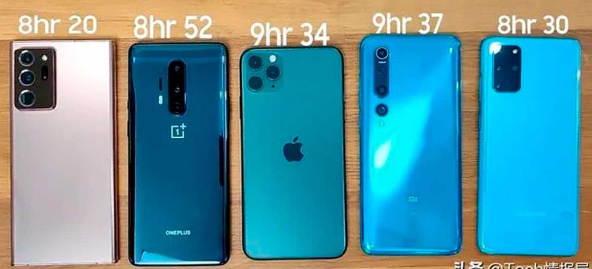 Qual tem mais bateria? Mi 10, Galaxy S20+, Note 20 Ultra, OP8 Pro ou iPhone 11 Pro Max